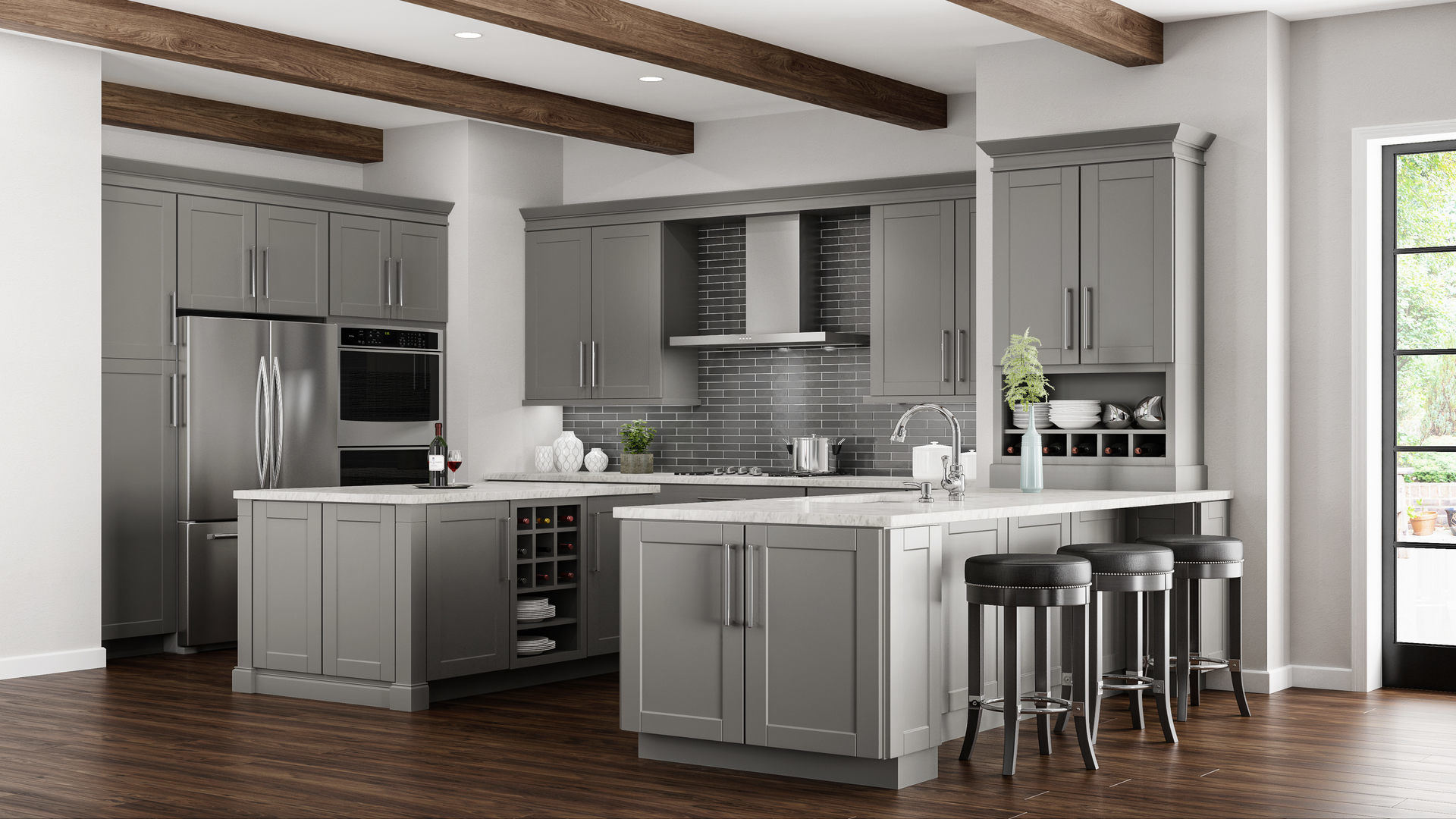 Hampton Bay Shaker Wall Cabinets In Dove Gray