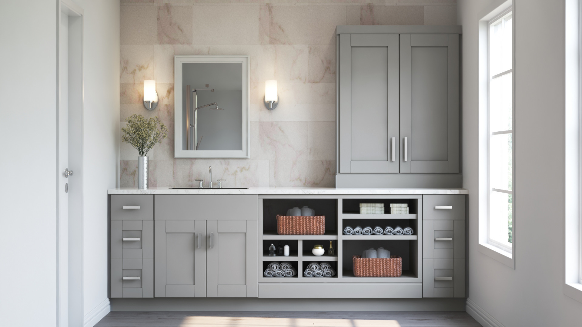 Hampton Bay Shaker Pantry Cabinets In Dove Gray