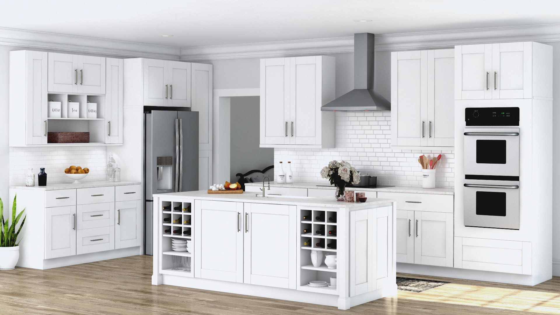 Shaker White Coordinating Cabinet Hardware Kitchen The