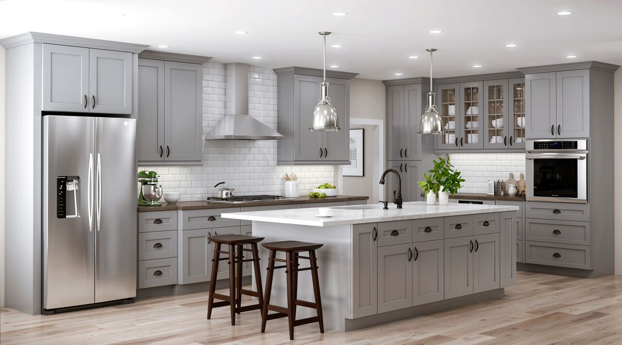 Tremont Base Cabinets In Pearl Gray Kitchen The Home Depot - Where to buy grey kitchen cabinets
