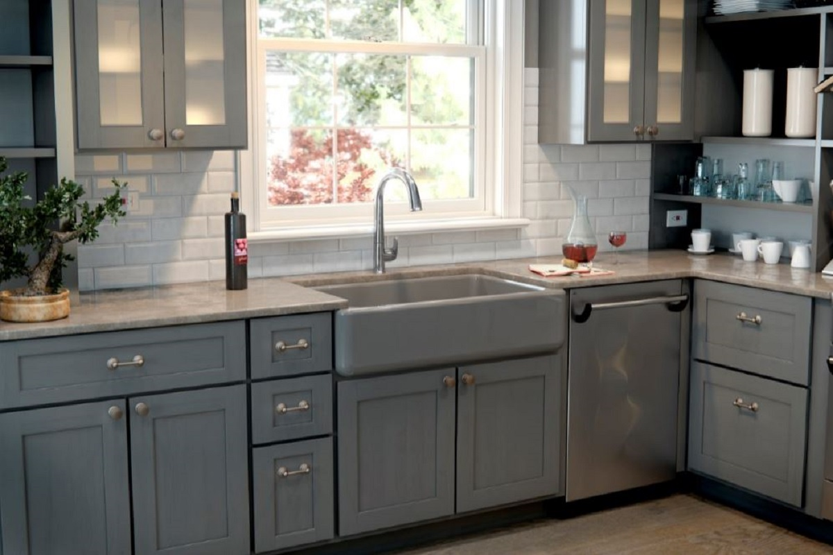 Whitehaven Cast Iron Kitchen Sinks In Cashmere Kitchen The Home Depot