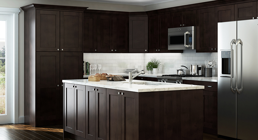 Elice Pantry Cabinets In Mocha Kitchen The Home Depot