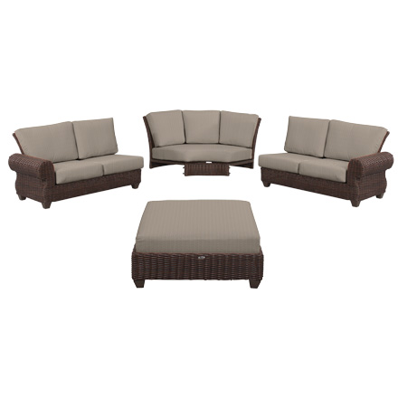 Hampton Bay Mill Valley 4 Piece Patio Sectional Set With Parchment Cushions